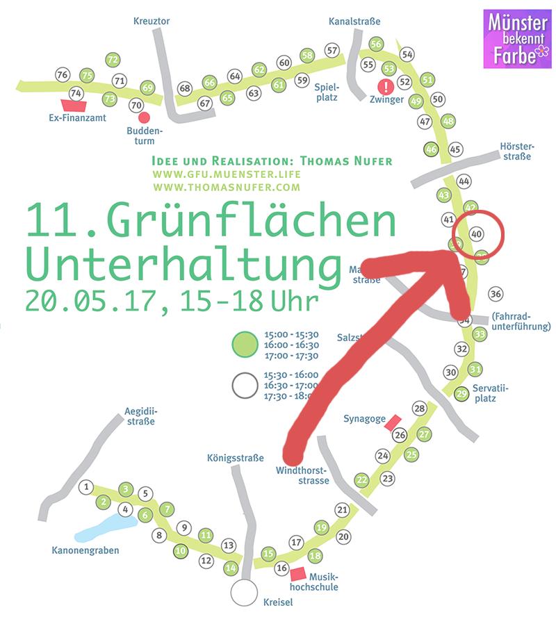 Grünflächenunterhaltung 2017 - Standort Die 3 lustigen 2 - Promenade Münster